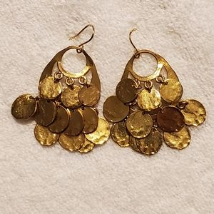 Jewelry - Art Deco Gold Coin Tiered Drop Earrings